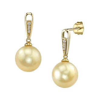 Radiance Pearl 14k Yellow Gold Golden South Sea Pearl Diamond Accent Earrings (10-11 mm)
