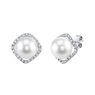 Radiance Pearl 14k White Gold White Akoya Pearl 1/6ct TDW Diamond Earrings (9-10 mm)