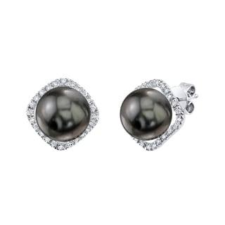 Radiance Pearl 14k White Gold Tahitian South Sea Pearl 1/6ct TDW Diamond Earrings (9-10 mm)