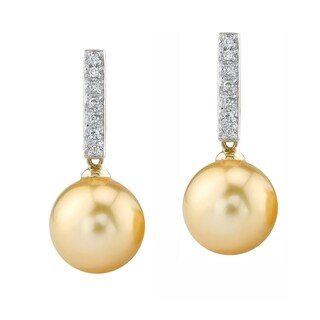 Radiance Pearl 14k Yellow Gold Golden South Sea Pearl 1/10ct TDW Diamond Earrings (10-11 mm) (2 options available)
