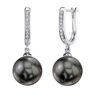 Radiance Pearl 14k Gold Tahitian South Sea Pearl 1/10ct TDW Diamond Earrings (10-11 mm)