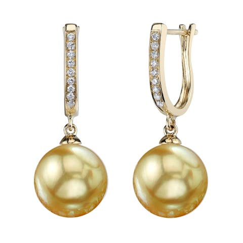 Radiance Pearl 14k Yellow Gold Golden South Sea Pearl 1/10ct TDW Diamond Earrings (10-11 mm)
