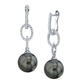 Radiance Pearl 14k Gold Tahitian South Sea Pearl 1/5ct TDW Diamond Earrings (9-10 mm)