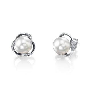 Radiance Pearl 14k Gold White South Sea Pearl 1/6ct TDW Diamond Earrings (9-10 mm)