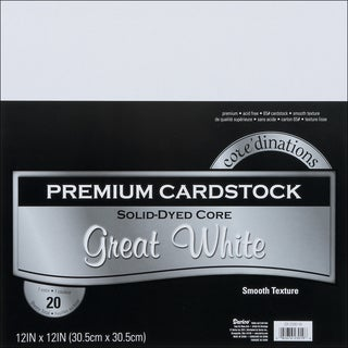 Core'dinations Value Pack Cardstock 12inX12in 20/PkgGreat White  Smooth