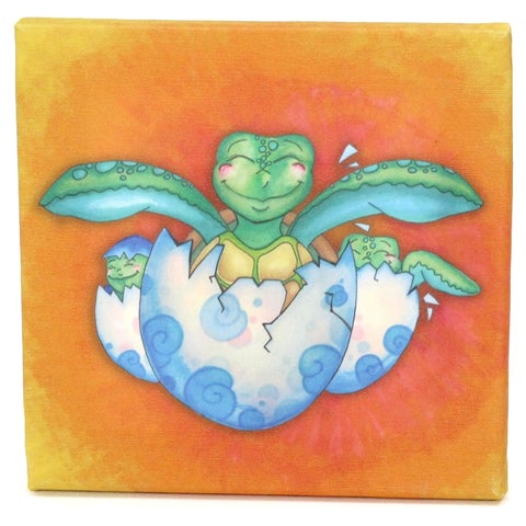 Growing Kids Sea Turtle Journey Series Canvas Wall Art - Hatching with Friends - Orange