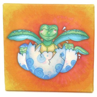 Growing Kids Sea Turtle Journey Series Canvas Wall Art - Hatching with Friends