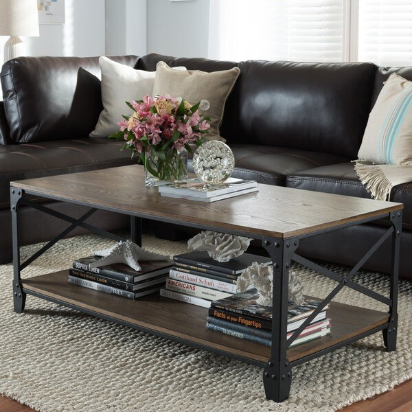 Bronze Industrial Coffee Table: Shop Baxton Studio Greyson Industrial Bronze Coffee Table