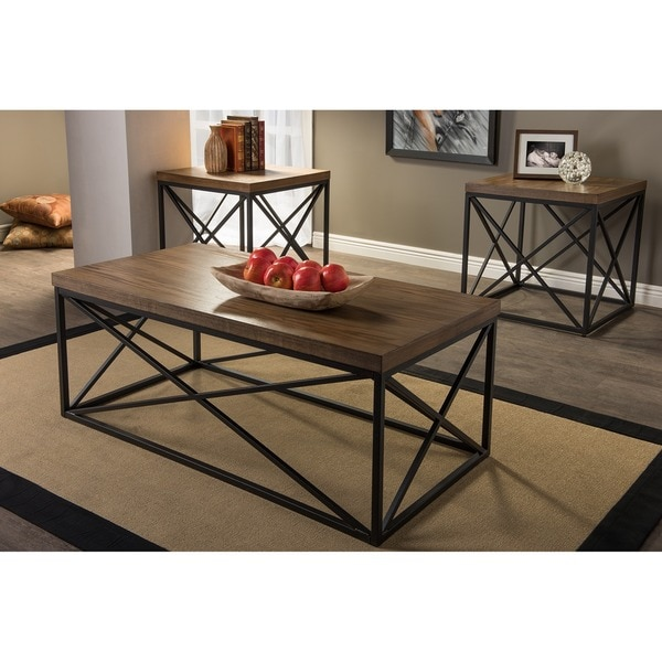 Baxton Studio Holden Vintage Industrial Bronze 3 Piece Coffee And End Tables  Set