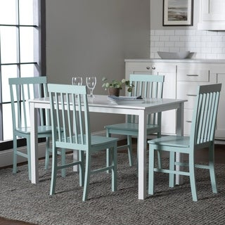5 Piece Dining Set In White And Green