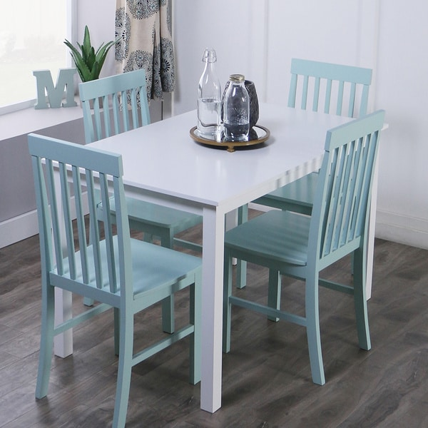 5-piece Dining Set in White and Green