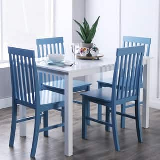 Havenside Home 5 Piece White And Powder Blue Dining Set