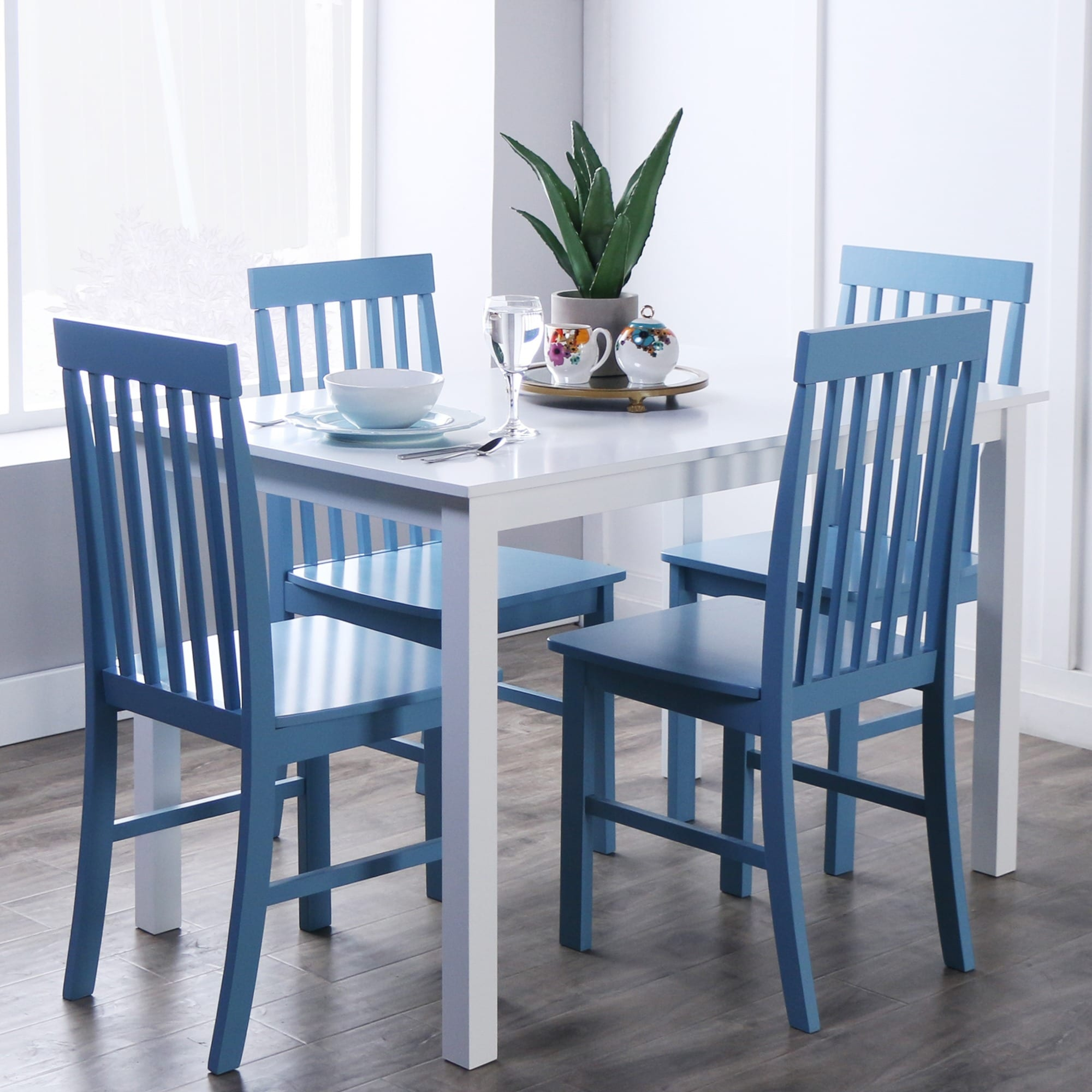 Dining Table Set White Table Room Blue Chairs Kitchen 5-Piece Room ...