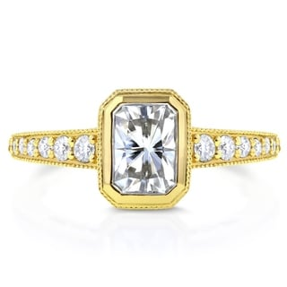 Annello by Kobelli 14k Yellow Gold Radiant Moissanite Bezel and 1/4ct TDW Diamond Elongated Octagona