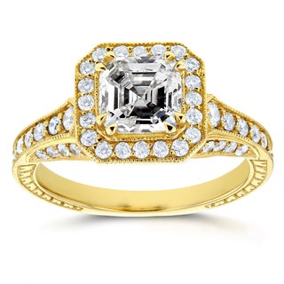 Annello by Kobelli 14k Yellow Gold 1 3/5ct TDW Asscher Diamond Antique Etching Engagement Ring