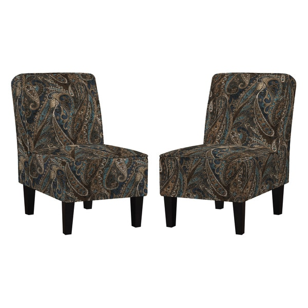 Better Living Wylie Blue Paisley Armless Chair (Set Of 2)