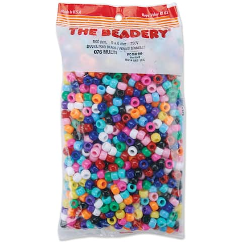 Pony Beads 6mmX9mm 900/PkgOpaque Multicolor