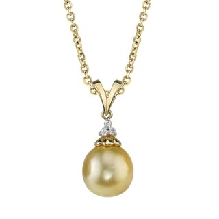Radiance Pearl 14k Yellow Gold Golden South Sea Pearl Diamond Accent Pendant (11-12mm)