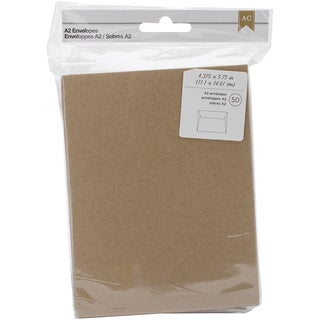 American Crafts A2 Envelopes (4.375inX5.75in) 50/PkgKraft