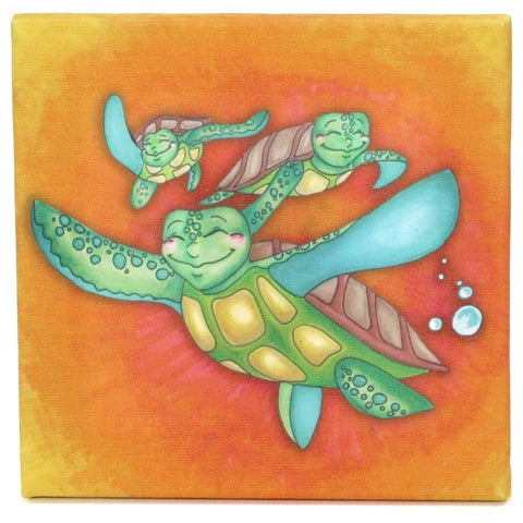 Growing Kids Sea Turtle Journey Series Canvas Wall Art - Off to Sea - Orange