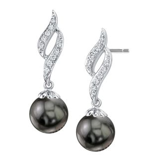 Radiance Pearl 14k Gold Tahitian South Sea Pearl 1/6ct TDW Diamond Earrings (9-10 mm)