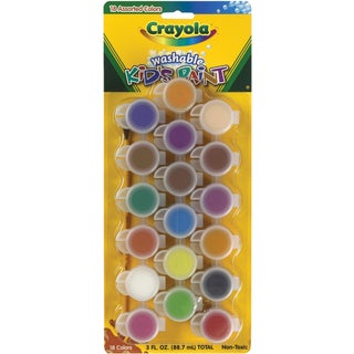 CRAYOLA-Set includes 18 colors of washable kids paint and a paintbrush. Paint comes in individual pots. For ages 4 and up.