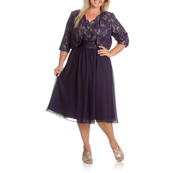 Shop Le Bos Women\'s Plus Size 2-piece Gold/ Floral Mesh Jacket Dress ...