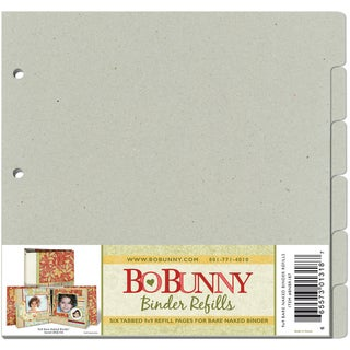 Bo Bunny 3Ring Bare Naked Binder Pages 9inX9in 6/Pkg