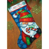 Sweet Santa Stocking Needlepoint Kit16in Long Stitched In Floss
