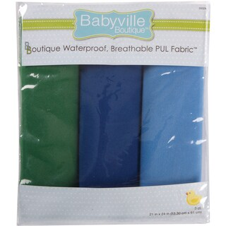 Babyville PUL Waterproof Diaper Fabric 21inX24in Cuts 3/PkgBoy Solids