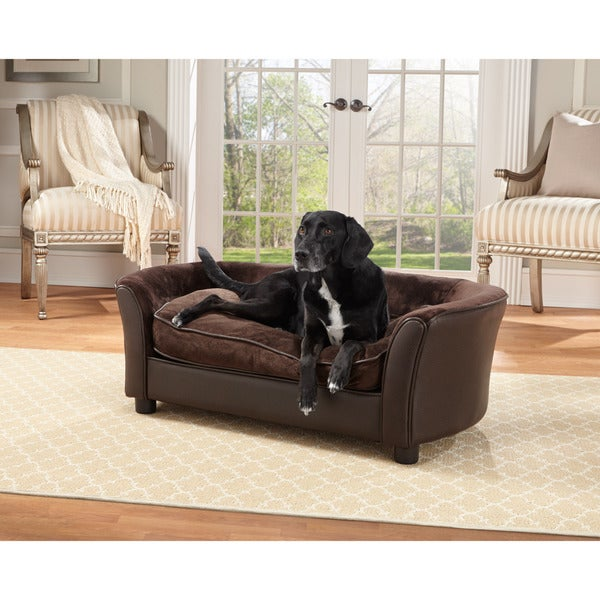 Delightful Enchanted Home Pet Ultra Plush Brown Panache Pet Bed Sofa