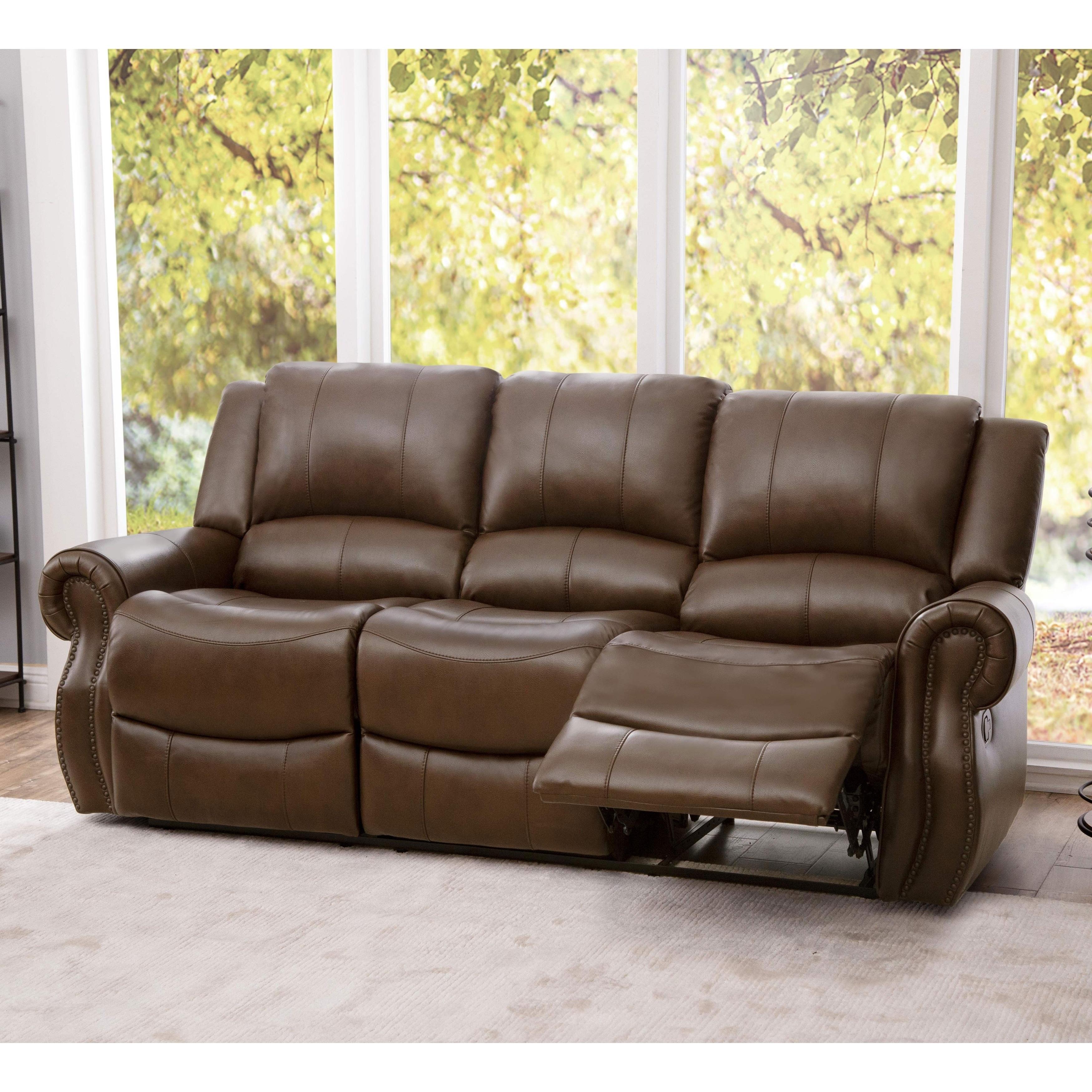 Abbyson Calabasas Mesa Brown Leather Reclining Sofa