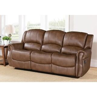 Abbyson Calabasas Mesa Brown Reclining Sofa