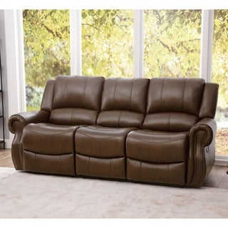Abbyson Calabasas Mesa Camel Reclining Leather Sofa