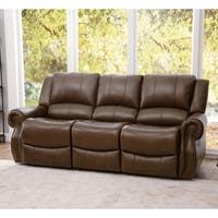 Abbyson Calabasas Mesa Brown Leather Reclining Sofa
