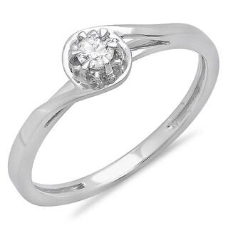 Elora 10k White Gold 1/8ct TDW Round-cut Diamond Twisted Solitaire Promise Ring (I-J ,I2-I3)