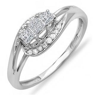 Elora 10k White Gold 1/3ct TDW Princess and Round Diamond 3-stone Swirl Split Shank Engagement Ring (H-I,
