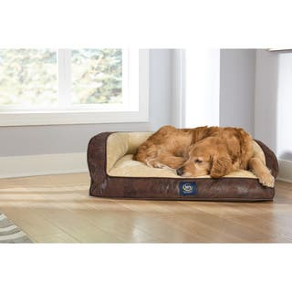 Serta Orthopedic Large Quilted Couch Pleather Deluxe 34 in. L x 24 in. W x 4 in. H Pet Bed|https://ak1.ostkcdn.com/images/products/10555708/P17634573.jpg?impolicy=medium