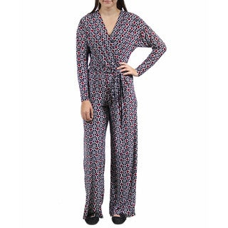 24/7 Comfort Apparel Women's Deep V-Neck Abstract Printed Jumpsuit