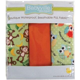 Babyville PUL Waterproof Diaper Fabric 21inX24in Cuts 3/PkgPlayful Friends Monkey & Hoot