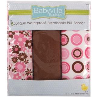 Babyville PUL Waterproof Diaper Fabric 21inX24in Cuts 3/PkgMod Girl Flowers & Dots