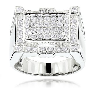 Luxurman 14k White Gold Men's 1 1/2ct TDW Round Diamond Ring (G-H, SI1-SI2)