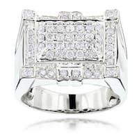 Luxurman 14k White Gold Men's 1 1/2ct TDW Round Diamond Ring (G-H, SI1-SI2)