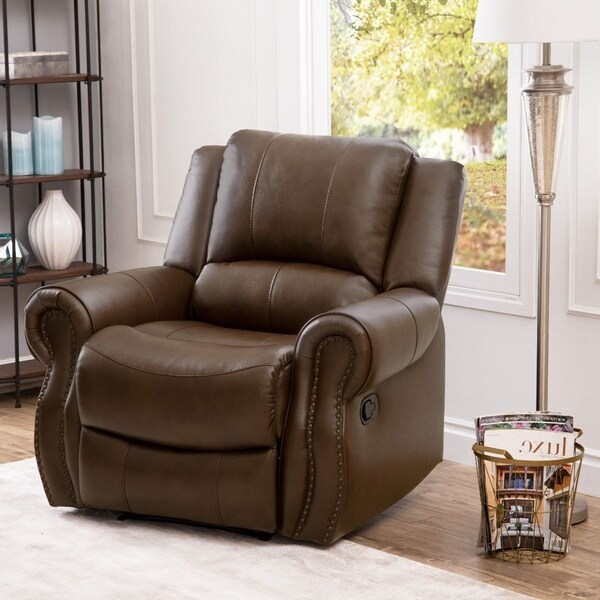 Abbyson Calabasas Mesa Brown Leather Reclining Armchair