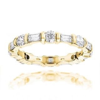 Luxurman 14k Gold 1 1/4ct TDW Baguette and Round Diamond Eternity Band