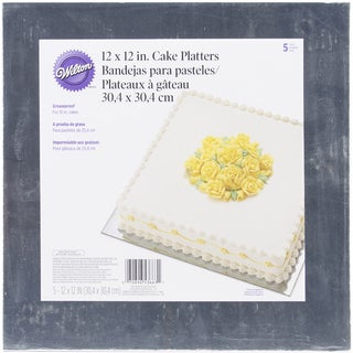 Cake Platters12in Silver Square 5/Pkg