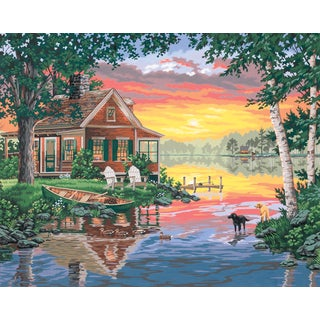 Paint Works Paint By Number Kit 20inX16inSunset Cabin
