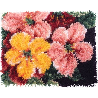 Wonderart Latch Hook Kit 15inX20inBrilliant Blossoms