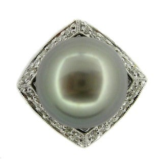 Kabella 14k White Gold Black South Sea Pearl and 5/8ct TDW Diamond Ring (G-H, SI2-SI3) (12-13mm)