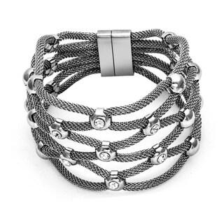 Pearlyta Sterling Silver Multi-strand Nylon Mesh Cuff Fashion Bracelet
